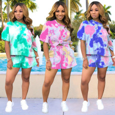 Tie Dye Print Short Sleeve Two Piece Shorts Sets NK-8458