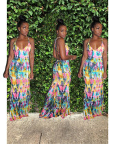Tie Dye Print Low Cut Strappy Backless Long Maxi Dress MK-2028