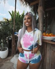 Tie Dye Print Hooded Short Sleeve Two Piece Short Set MYP-8870