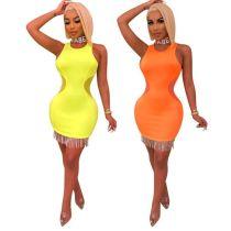 Sexy Sleeveless Tassel Mesh Spliced Mini Dresses WZ-8212