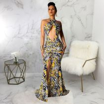 Sexy Halter High Split Print Mermaid Maxi Dress SMR9238