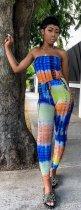 Tie Dye Print Strapless Slim Jumpsuit CM-534