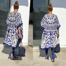 Fashion Printed Tassel Long Cardigan Cloak IV-8050