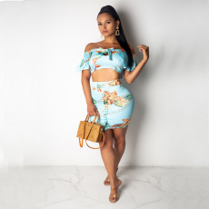 Floral Print Bow Knot Slash Neck Two Piece Skirt Set PN-6200