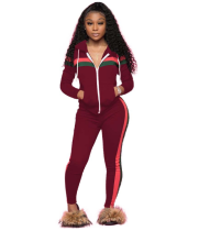 Hot Sale Striped Zipper Hooded Tracksuit 2 Piece Set YN-9003