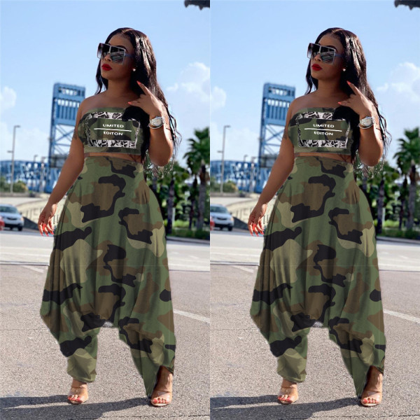 Camouflage Print Tube Tops Harem Pants 2 Piece Suits LSL-6309
