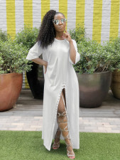 White Half Sleeve High Split Casual Loose Maxi Dress LS-0274