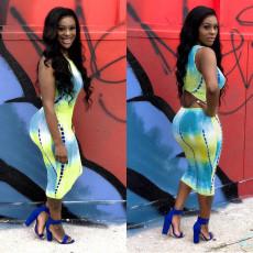Tie Dye Print Sleeveless Bodycon Midi Dresses FNN-8254