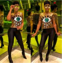 Fashion Cartoon Eye Sequins Short Sleeve T Shirts BN-9148