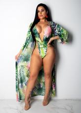 Sexy Print 2pcs Swimsuit Long Cloak Bodysuit YM-9101