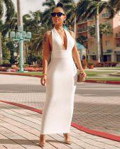 Deep V Neck Halter White Slim Long Dresses BS-1031