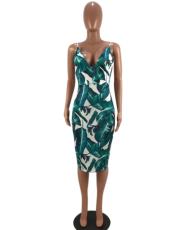 Green Printing Deep V Neck Backless Dress MOY-5008