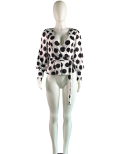 Polka Dot V-neck Lantern Full Sleeve Blouse MK-1025