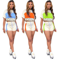 Casual Patchwork Hooded Short Sleeve 2 Piece Shorts Set BLX-7327