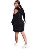 Black Off Shoulder Hooded Loose Mini Dress FNN-8164