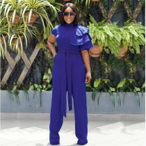 Solid Ruffles Short Sleeve Sashes Long Jumpsuit LS-0270
