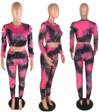 Tie Dye Hole Crop Tops Skinny Pant Set MYP-8827