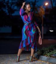 Fashion Print V Neck Tops Midi Skirt 2 Piece Set HM-6092