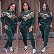 Dark Green Velvet Sequin Tracksuit 2 Piece Set CM-278