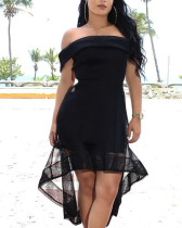 Black Sexy Slash Neck High Low Midi Dresses YIS-632