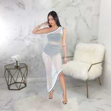 Sexy Hollow Out Off Shoulder Irregular Long Dress SMR9224
