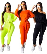 Solid Oblique Neck Long Sleeve Sashes Jumpsuits WSM-5097