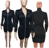 Black Front Zipper Long Sleeve Bodycon Mini Dress HM-6064