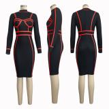 Stripes Splice Long Sleeve Bodycon Midi Dress SMR9174