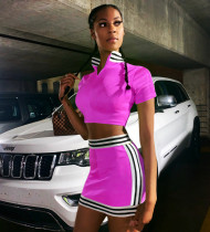 Striped Short Sleeve Tops And Mini Skirt Sets YMT-6074-1