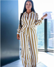 Striped Shirt Collar Long Sleeve Wide Leg Jumpsuit PIN-803