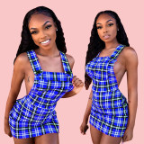 Plaid Print Backless Straps Mini Dresses HM-6105
