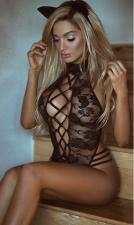 Black Lace See-thru Teddy Lingerie YQ-273