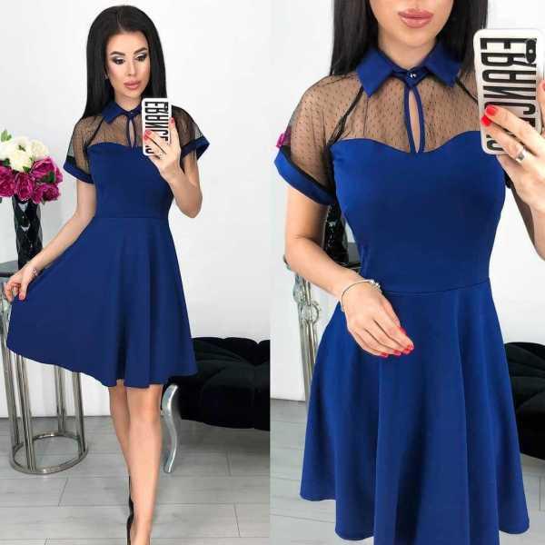 Mesh Patchwork Short Sleeve Mini Dress LS-0253
