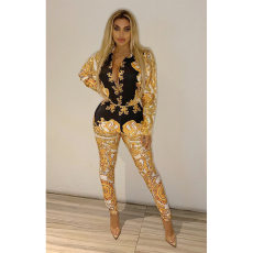 Vintage Print Bodysuit And Long Pants 2 Piece Set YF-9389