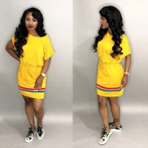 Stripes Splice Short Sleeve Mini Dresses LM-8049