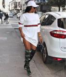 Striped Long Sleeve White Short Dress FNN-8032