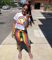 Rainbow Color T Shirt And Shorts Casual 2 Piece Set ORY-5131