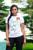 Letter Print O Neck Short Sleeve T Shirt YM-9099