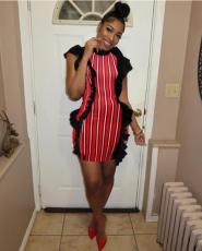 Red Stripe Dress LS-0214