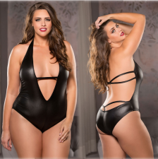 Hot Sexy Black PU Leather Backless Teddies Lingerie YQ-8027