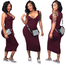 Solid V Neck Bodycon Midi Dress CQ-5090