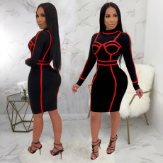 Stripes Splice Long Sleeve Bodycon Midi Dress SMR9174