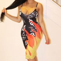 Flame Print Sexy Spaghetti Strap Sleeveless Midi Dresses KSN-5012