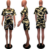 Camo Print Short Sleeve Casual Two Piece Shorts Suits HZM-7002