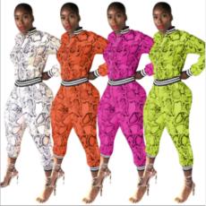 Plus Size Snake Skin Print Casual Sports Two Piece Sets YN-036