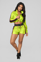 Casual Striped Splice Long Sleeve Shorts 2 Piece Sets LX-3089