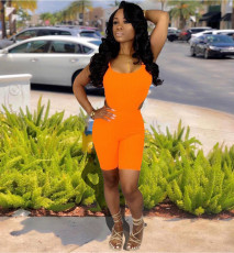 Solid Bodysuit And Shorts Two Piece Sets YH-5059
