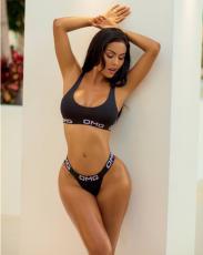 Letter Print Sexy Black Bikini LSL-6131