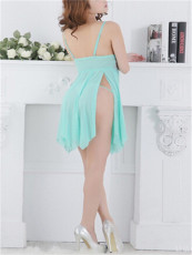 Blue Lace Long Dress Split Gauze Lingerie FQQ1095