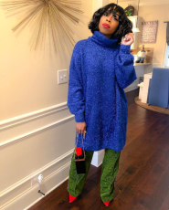 Casual Turtleneck Long Sleeve Midi Sweater Dress YD-8051
